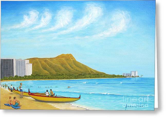 Waikiki Wonder Greeting Card by Jerome Stumphauzer