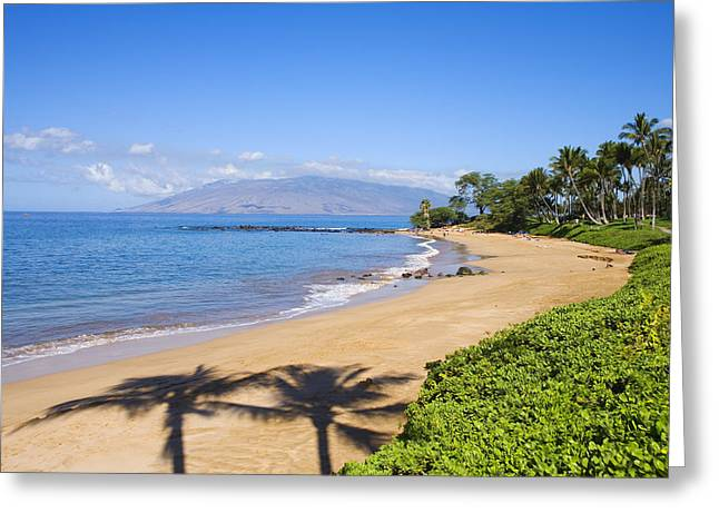 Calming Beach Photos Greeting Cards - Wailea, Ulua Beach Greeting Card by Ron Dahlquist - Printscapes