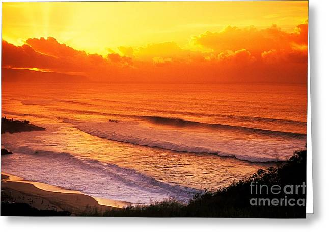 Vince Greeting Cards - Waimea Bay Sunset Greeting Card by Vince Cavataio - Printscapes