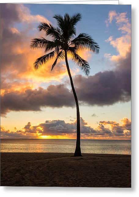 Waimea Beach Sunset 2 - Oahu Hawaii Greeting Card by Brian Harig