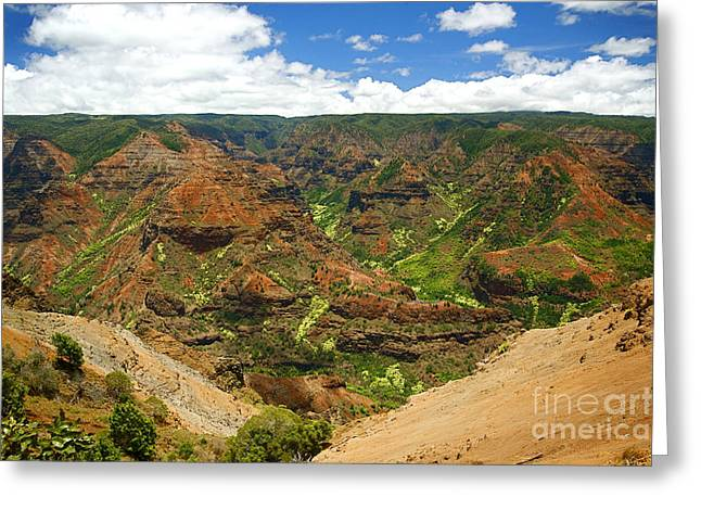 Waimea Valley Greeting Cards - Waimea Canyon and Blue Sky Greeting Card by Kicka Witte - Printscapes