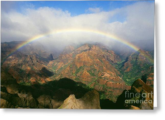 Waimea Valley Greeting Cards - Waimea Canyon, Full Rainbow Greeting Card by Brent Black - Printscapes