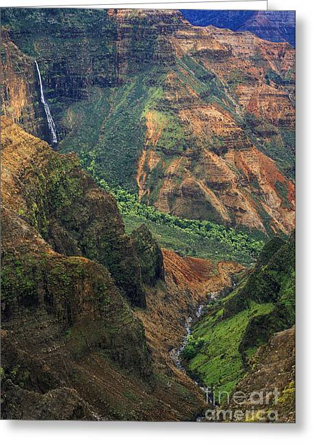 Waimea Falls Greeting Cards - Waipoo Falls - Waimea Canyon Greeting Card by Greg Vaughn - Printscapes