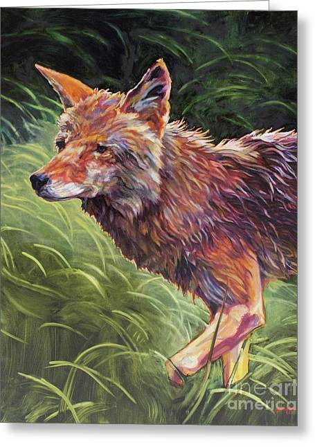 Coyote Art Greeting Cards - Wait For It Greeting Card by Patricia A Griffin