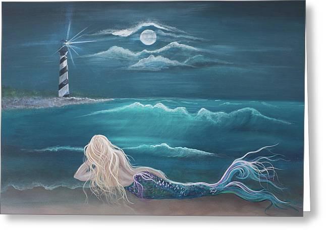 Angel Mermaids Ocean Greeting Cards - Waiting Greeting Card by Angel Fritz