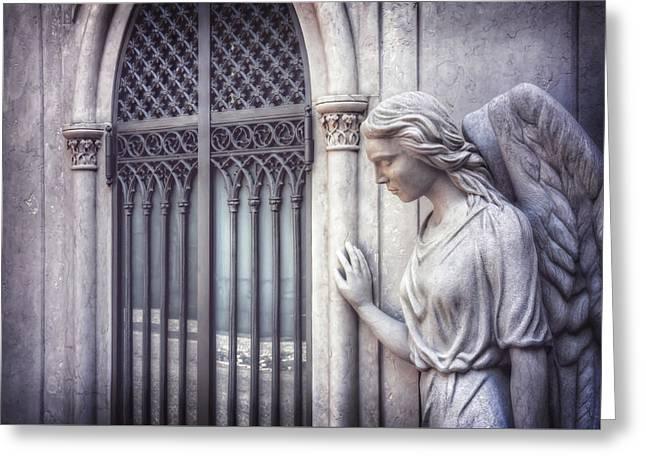 Waiting Angel In Prazeres Lisbon Greeting Card by Carol Japp