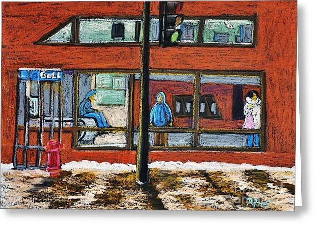 Night Scenes Pastels Greeting Cards - Waiting at the Metro Greeting Card by Reb Frost