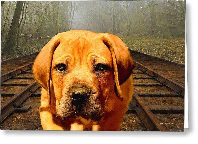 Puppy Digital Art Greeting Cards - Waiting By the Tracks Greeting Card by EricaMaxine  Price