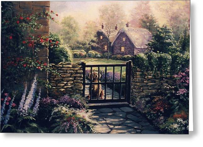 Kinkade Greeting Cards - Waiting Greeting Card by Carolyn MacMahon