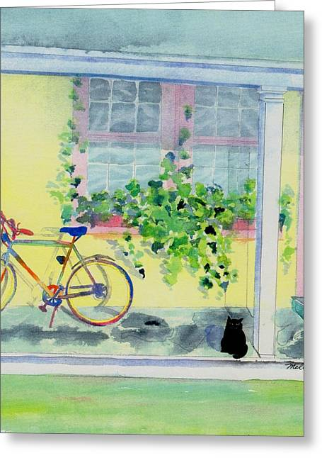Screened Porchs Paintings Greeting Cards - Waiting for a ride Greeting Card by Melody Allen