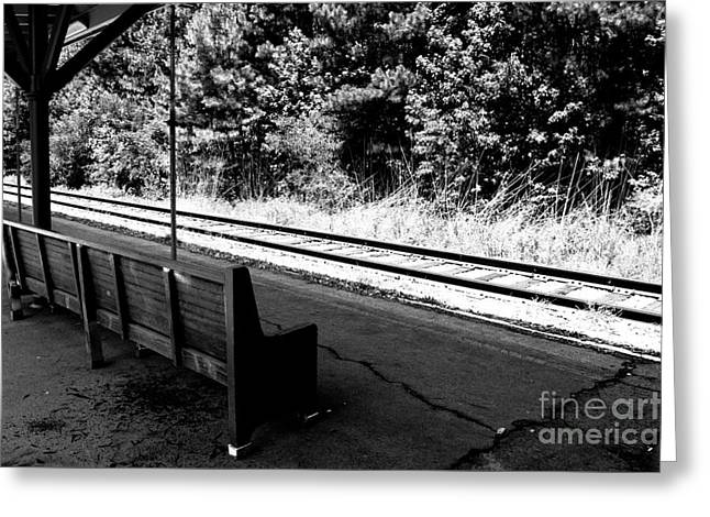 Wooden Platform Greeting Cards - Waiting for a train Greeting Card by Alicia Collins