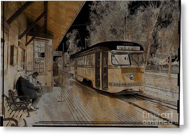 Train Depot Greeting Cards - Waiting for a Train Greeting Card by Robert Ball