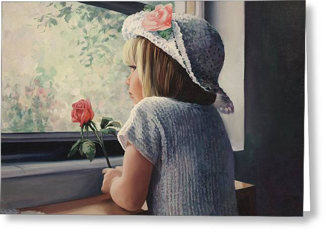 Waiting For Daddy Greeting Card by Laurie Hein