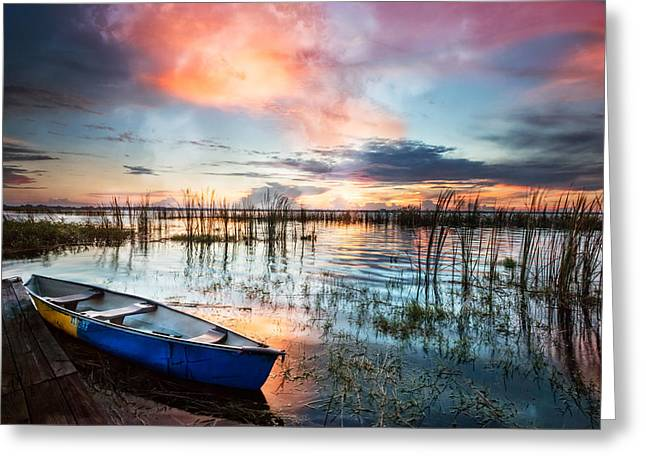 Boats At The Dock Greeting Cards - Waiting for Dawn Greeting Card by Debra and Dave Vanderlaan