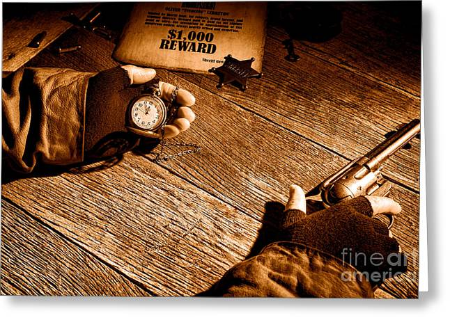 Waiting For High Noon - Sepia Greeting Card by Olivier Le Queinec