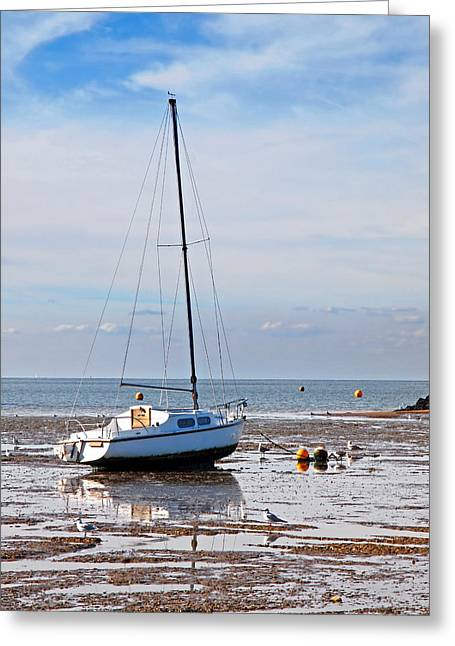 Boats At Dock Greeting Cards - Waiting For High Tide Greeting Card by Gill Billington