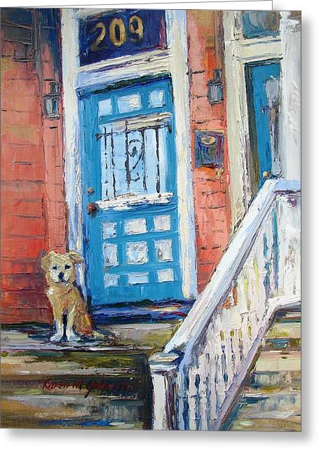 Dog On Front Steps Greeting Cards - Waiting for his Master Greeting Card by Karen Mayer Johnston
