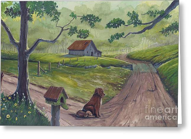 Old Country Roads Paintings Greeting Cards - Waiting For His Return Greeting Card by Bill Shelton