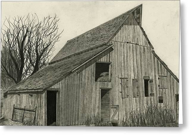 Old Barns Drawings Greeting Cards - Waiting For Life Greeting Card by Bryan Baumeister
