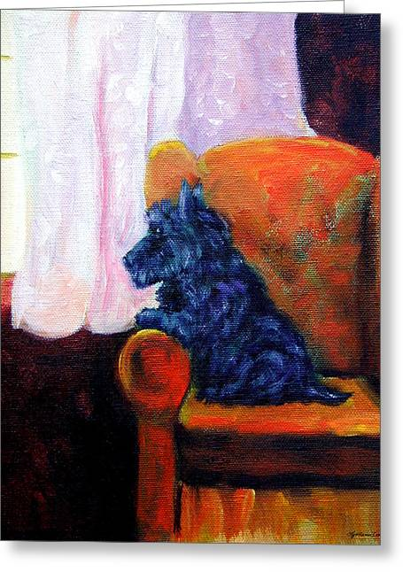 K9 Greeting Cards - Waiting for Mom - Scottish Terrier Greeting Card by Lyn Cook