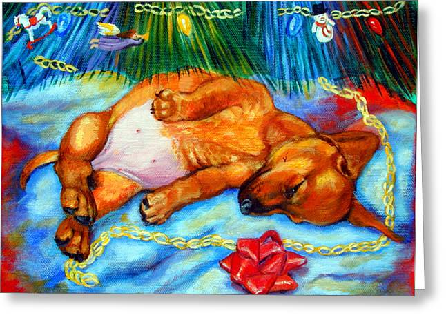 Doxie Greeting Cards - Waiting for Santa  - Dachshund Greeting Card by Lyn Cook