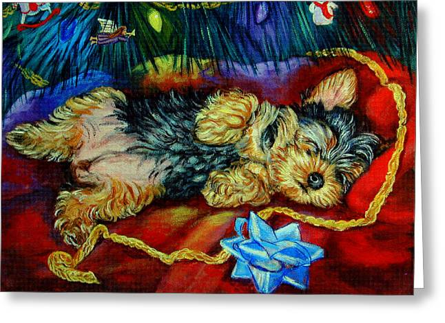 Puppies Paintings Greeting Cards - Waiting for Santa Yorkshire Terrier Greeting Card by Lyn Cook