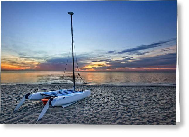 Canoe Photographs Greeting Cards - Waiting for Sunrise Greeting Card by Debra and Dave Vanderlaan