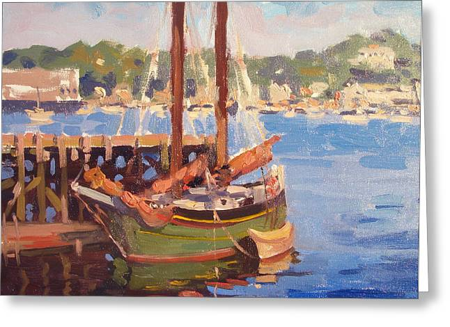Recently Sold -  - Schooner Greeting Cards - Waiting for Sunset Greeting Card by Dianne Panarelli Miller