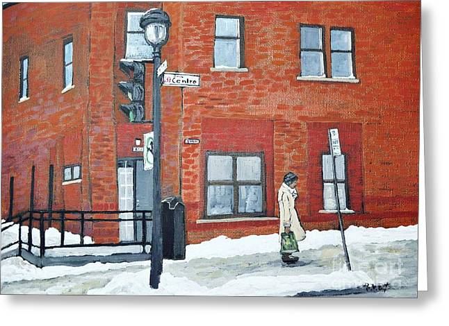Montreal Winter Scenes Paintings Greeting Cards - Waiting for the 107 Bus Greeting Card by Reb Frost