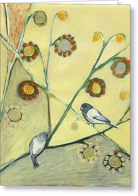 Sparrow Paintings Greeting Cards - Waiting for the Dance of Spring Greeting Card by Jennifer Lommers