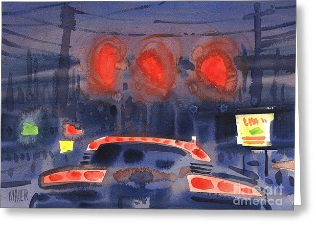 Traffic Greeting Cards - Waiting for the Light Greeting Card by Donald Maier