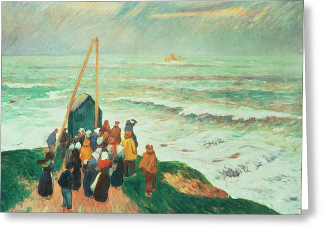 Waiting for the Return of the Fishermen in Brittany Greeting Card by Henry Moret