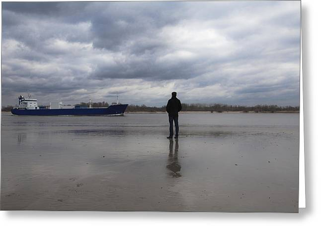 Pensive Greeting Cards - Waiting for the ship Greeting Card by Maria Heyens