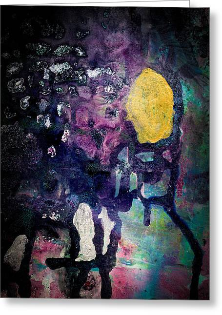 Waiting For The Sun - Abstract Colorful Mixed Media Painting Greeting Card by Modern Art Prints
