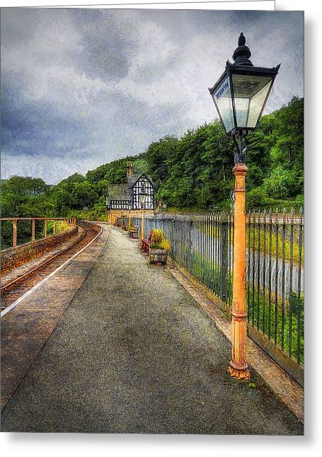 Old Town Digital Greeting Cards - Waiting For The Train Greeting Card by Ian Mitchell