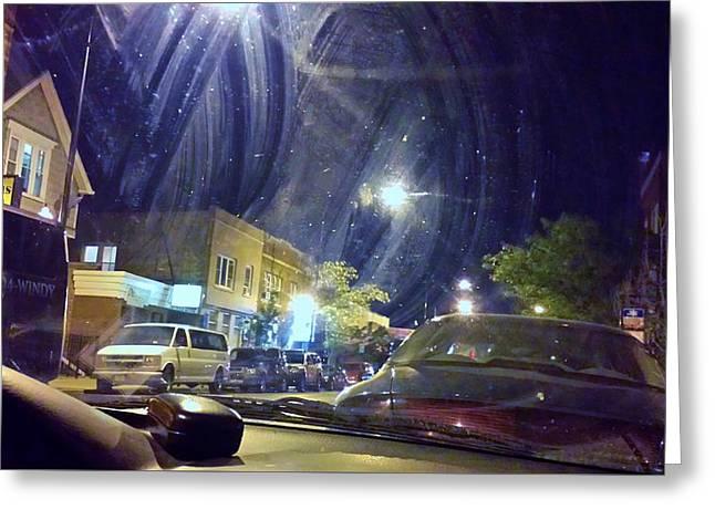 Streetlight Greeting Cards - Chicago Street Scene Greeting Card by Rosanne Licciardi