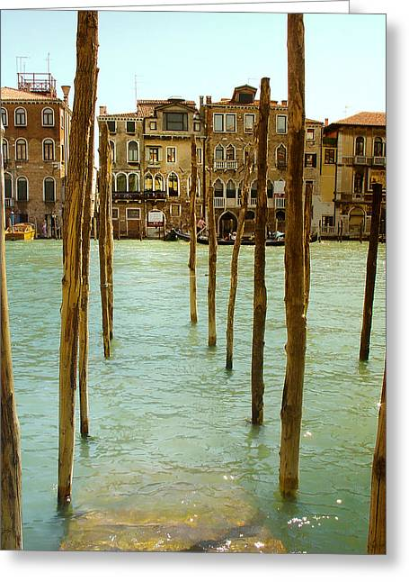 Vaporetto Greeting Cards - Waiting in Venice Greeting Card by Julie Palencia