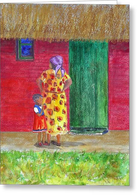 Zimbabwe Paintings Greeting Cards - Waiting in Zimbabwe Greeting Card by Patricia Beebe