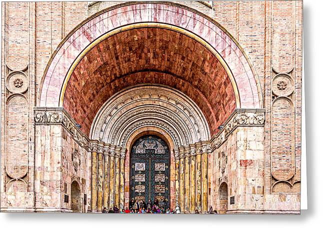 Entrance Door Greeting Cards - Waiting Greeting Card by Maria Coulson