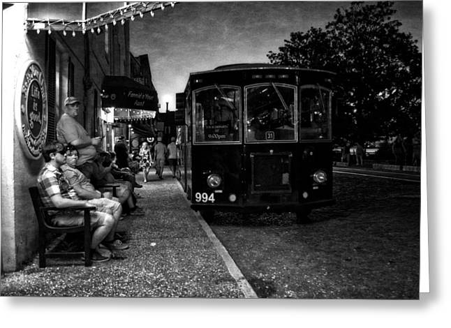 Bus Stop Greeting Cards - Waiting On A Bus in Black and White Greeting Card by Greg Mimbs