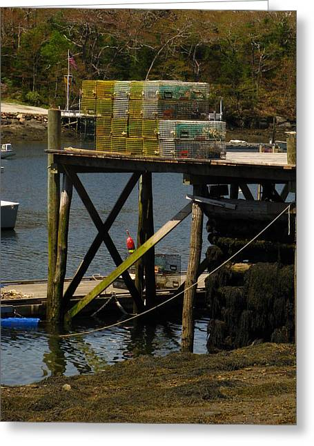 New England Ocean Greeting Cards - Waiting on the Dock Greeting Card by Bill Tomsa