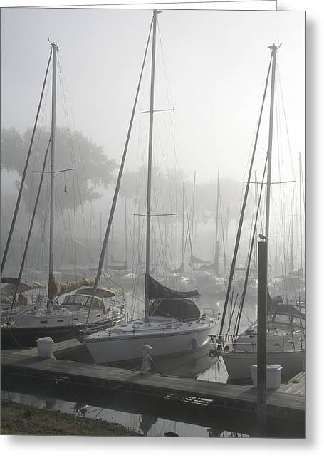 Sailboats Docked Greeting Cards - Waiting on the Fog Greeting Card by Laurie With