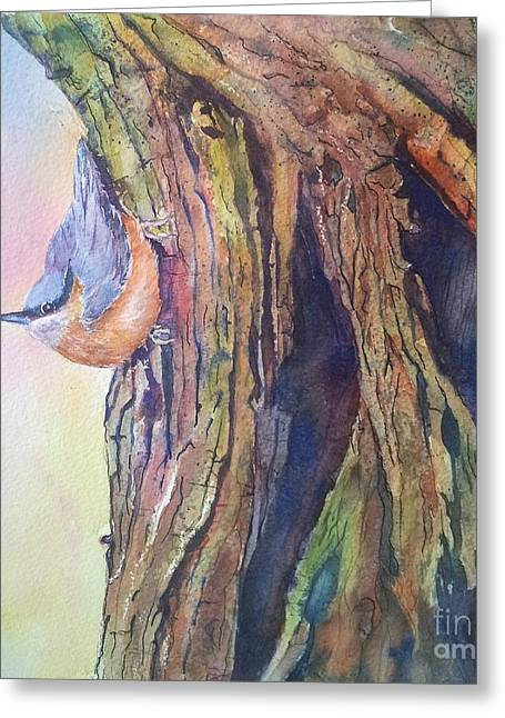Colorful Bark Greeting Cards - Waiting Greeting Card by Patricia Pushaw