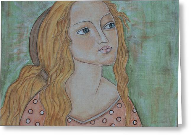 Devotional Art Paintings Greeting Cards - Waiting Greeting Card by Rain Ririn