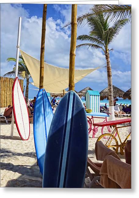 Beach Photos Greeting Cards - Waiting Surf Boards - photography by Ann Powell Greeting Card by Ann Powell