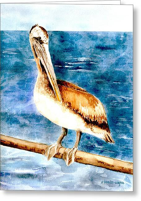 Pelican Paintings Greeting Cards - Waiting To Dine Greeting Card by Arline Wagner