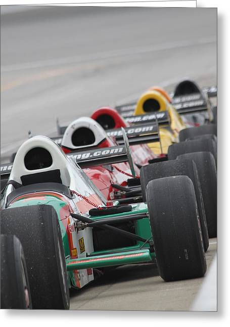 Indy Car Greeting Cards - Waiting to run Greeting Card by Lauri Novak