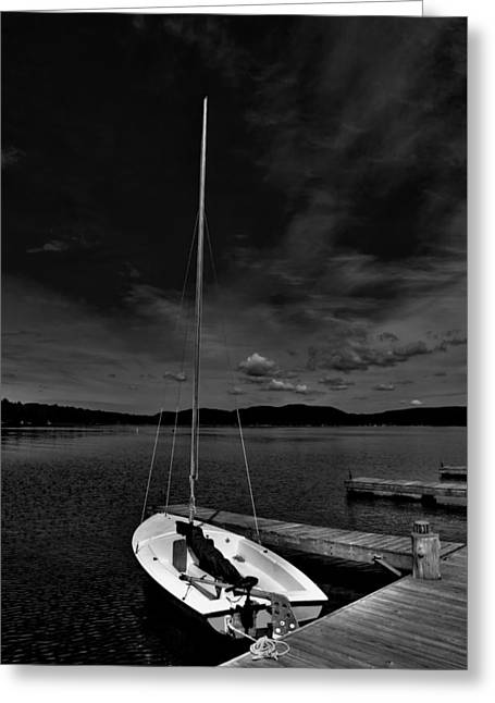 Sailboats At The Dock Greeting Cards - Waiting to Sail on Fourth Lake Greeting Card by David Patterson