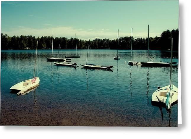 Sailboat Art Greeting Cards - Waiting to Sail on White Lake Greeting Card by David Patterson