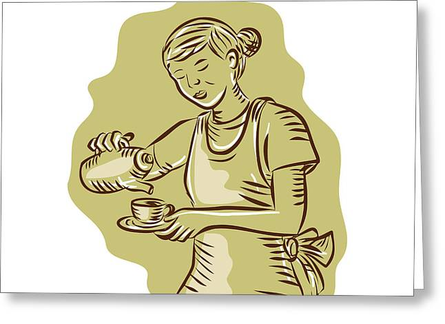 Pouring Digital Art Greeting Cards - Waitress Pouring Tea Cup Vintage Etching Greeting Card by Aloysius Patrimonio